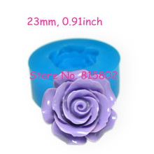 Free Shipping HYL137U Flower ROSE Mold Flexible Silicone Push Mold 23mm - Air Dry Polymer Clay Fake Food Molds, Resin Mould
