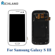 Richland LCD Screen For Samsung Galaxy S3 i9300 LCD Display Touch Screen Digitizer with Home Botton Full Assembly + Bezel Frame(China)