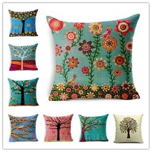 43*43cm Linen Cotton ikea Cushion cover cases Tree and House printed decorative throw pillows cover for sofa bed chair