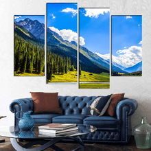 4 Pcs/Set Large Landscapes Mountain Summit Canvas Print Painting Still Life Mountain Cloud Blue Wall Art Picture Home Decor