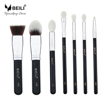 BEILI 7pcs Liquid Foundation Highlight Goat Synthetic Hair Eye shadow Concealer Small Makeup Brush Set