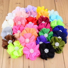 DHL Free Wholesale 500pcs/lot 30C Girls Hair Flowers Without Clip 7CM Chiffon Flowers Flat Back For DIY Hair Accessories TH02(China)
