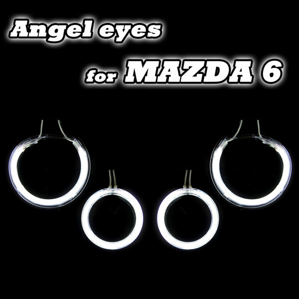 Hot sale fashionable angel eyes headlight ccfl halo rings for mazda 6 factory direct supply one year warranty free shipping<br>