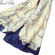 [Visual Axles] Women Pure Silk Scarf Luxury Brand Female New Fashion Printing Big Cats Silk Scarves Shawls(China)