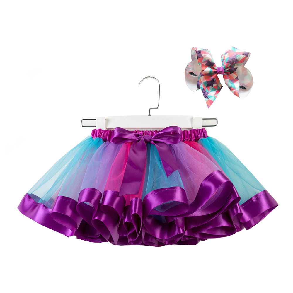 Girls Kids Tutu Party Dance Ballet Toddler Baby Costume Skirt+Bow Hairpin Set Sweet casual style rainbow tutu skirt юбка|Юбки| |