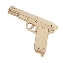 Newest 3D DIY Wooden Toys Gun Revolver Puzzle Wood Craft Construction Kit Pistol Baby Kids Gifts High Quality Toys & Hobbies