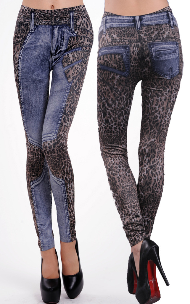New Arrival Leopard Women Slim Jeans Vintage Elastic Waist Casual Skinny Pants Ladies Sexy Printed Tattoo Leggings TrousersОдежда и ак�е��уары<br><br><br>Aliexpress