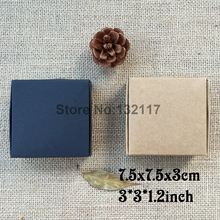 50PCS 7.5X7.5x3CM Black Carton Kraft Paper Box Caixa Presents Wedding Gift for Guest Candy Box Soap Box Packaging Supplies