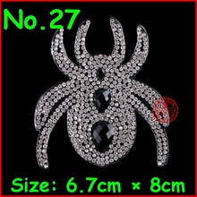 1 pcs Spider Patches Hotfix Rhinestones Motifs Iron On Crystal Patches Applique DIY Garment For Children Women Clothes Wedding(China)