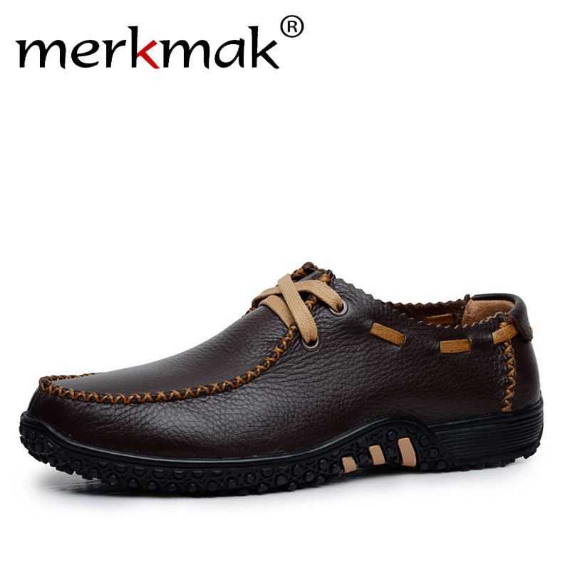 Merkmak New 2018 Handmade Genuine Leather Men Shoes Casual Leisure Mens Flats Male Moccasins Men Oxford Shoes Luxury Brand<br>