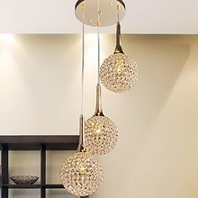 Golden LED Modern Crystal Pendant light Lamp with 3 Lights For Living Dining Room ,Luminaire Lustre De Sala Cristal