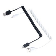 Mini 3ft 1 M spring in spiral male USB 2.0 Micro 5 Pin USB Data Sync Charger Cable