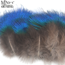 MNFT 1Pack(10pcs or 20pcs) New Natural Rare Blue Peacock Feathers 3-5cm Fly Fishing Lure Bait DIY Fly Tying Material(China)