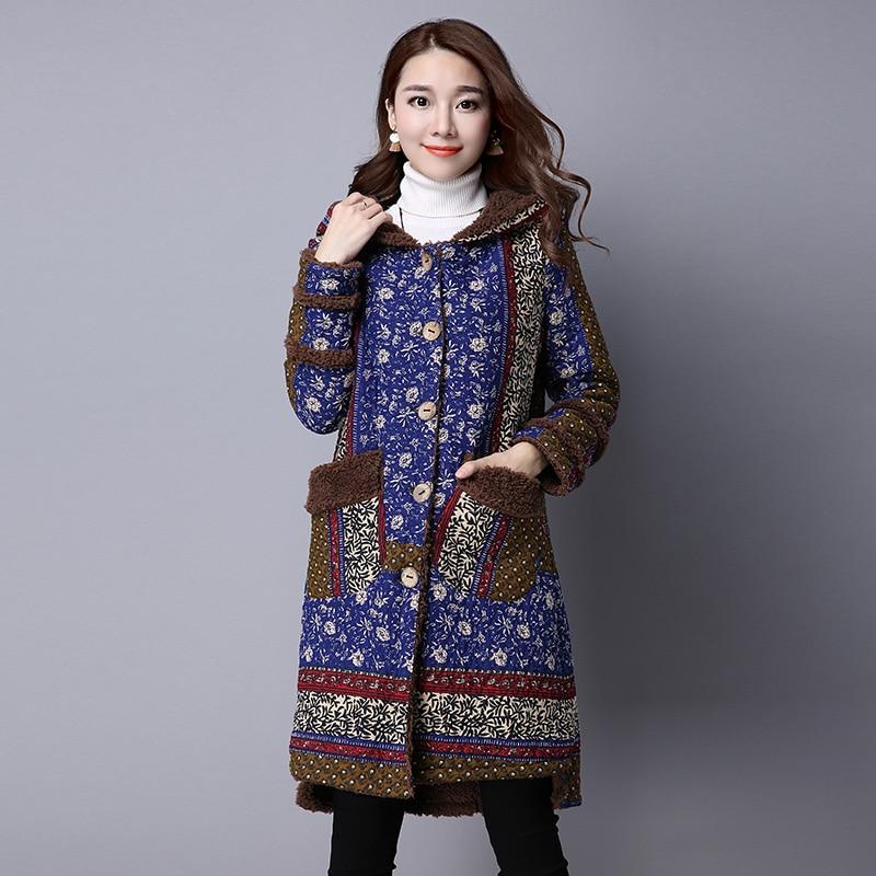 Ladies Winter Warm Coats 2017 Chinese Style Long Parka Women Hooded Long Sleeved Thinckening Flocking Cotton Padded JacketsÎäåæäà è àêñåññóàðû<br><br>