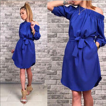 2017 Spring Summer Sexy Fashion New Women Dress Loose Solid Half Sleeve Slash Neck Party Beach Wear Ukraine Mini Dresses 4 Color(China)
