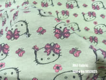 50*165cm Cartoon Hello Kitty stretchy cotton fabric cotton knitted jersey fabric DIY sewing T-shirts dress fabric by half meter