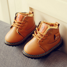 New Winter Baby Shoes Boys Girls Snow Boots Plush Lined PU Leather Waterproof Children Shoes Kids Martin Sneakers Flats Botas