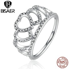 BISAER 100% 925 Sterling Silver Hearts Tiara, Clear CZ Women Finger Ring Jewelry WEU7194