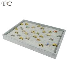 Jewelry Storage Box Ring Display Tray 35*24cm Grey Velvet Jewelry Rings Holder Stand Showed Organizer Cases
