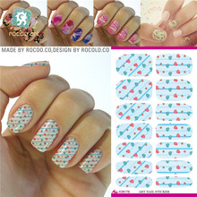 K5617/Water Transfer Foils Nail Art Sticker Colored Love Heart Design Manicure Wraps Decor Decals Minx Nail Polish Stickers(China)