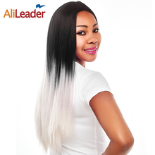 AliLeader Product Black And Green Ombre Wig For Women, 150% Density 26 Inch Long Straight Wigs Synthetic Hair Heat Resistant(China)