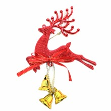 Home Christmas Tree Ornament Deer Chital Hanging Xmas Baubles Party Decoration Deer Christmas reindeer with bell trumpet 2017