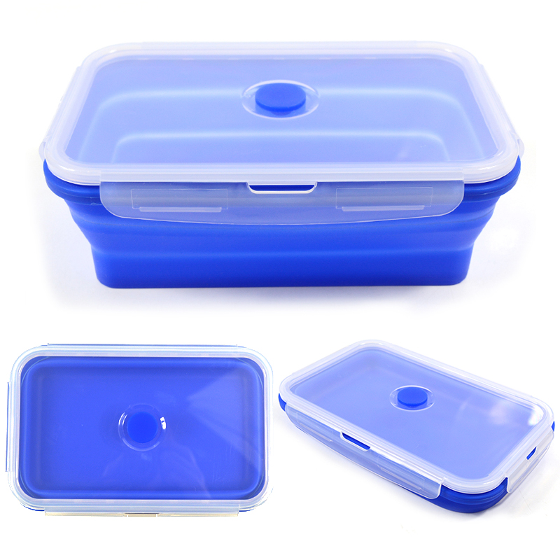 Folding Silicone Lunch Box Food Storage Container Kitchen Microwave Tableware Portable Household Outdoor Food Fruit Organizer 1