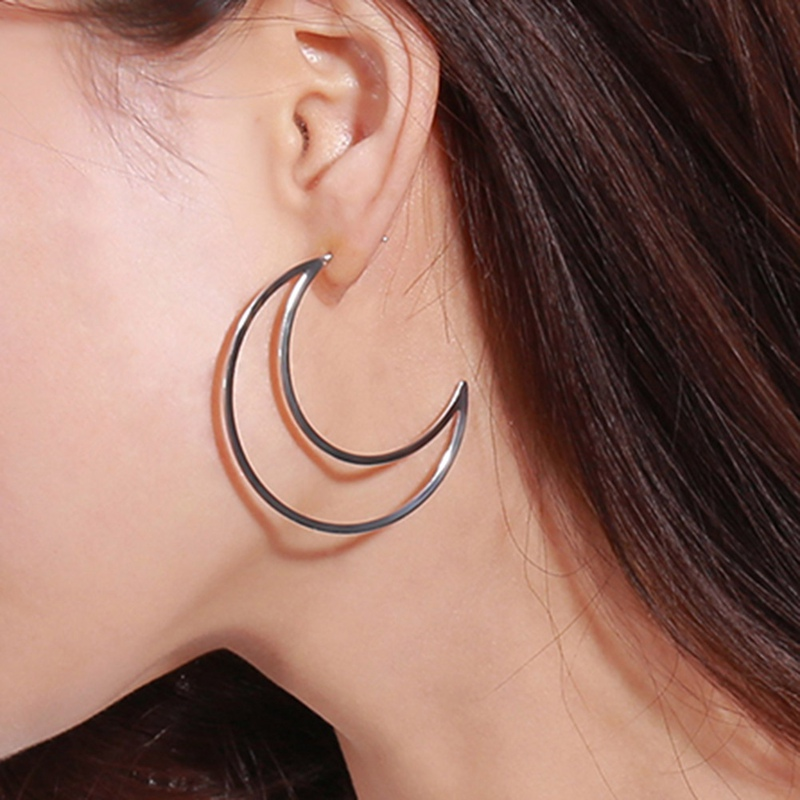 Hollow Hoop Crescent Moon Earrings Bohemian Earrings For Women Bijoux Jewelry