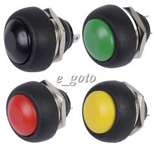 4pcs/Set Red Black Green Yellow 12mm Waterproof Momentary Contact Push Button Mini Round Switch 250V 1A