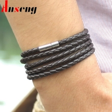 Anseng Brand Boys Punk Sproty Chain Link Charm Bracelet Bangles Fashion Handmade Wrap Leather Bracelet Men Jewelry
