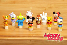60pcs 1.8cm classical mickey mouse and friends action figures minnie mouse marie cat alien donald duck anime figure mixed design(China)