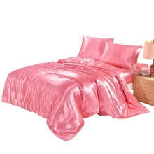 KISS QUEEN 3/4PCS DUVET COVER SET SATIN SILK BEDDING SET WITH DUVET COVER PILLOWCASES pink/black/white/blue/purple/gray/golden(China)