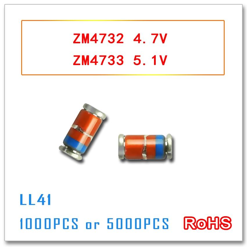 ZM4732 ZM4733 4.7V 5.1V 5000pcs 1000PCS LL41 1W ZM4732A ZM4733A 4732 4733 3.3v-47v smd  1N4732 1N4733 IN4732 IN4733 4V7 5V1<br>