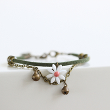 Fashion Japanese Flower Bracelets Summer Style Handmade Ceramic Jewelry for Women Gills Daisy Pattern with Bell Leather Rope(China)