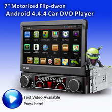 "Quad core Android4.4.4 OS 1din auto Flip down 7"" car stereo DVD player with motorized retractable Monitor 1024*600 Touch Screen"