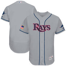 MLB Men's Tampa Bay Rays Baseball Gray 2017 Stars & Stripes Authentic Collection Flex Base Team Jersey(China)