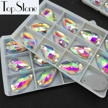 All Sizes Glass Crystal Teardrop Sew On Stone Flatback 2holes Crystal Clear AB 7x12~22x38mm Drop Sewing Jewelry Beads