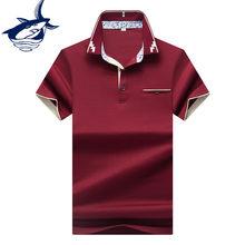 Venda quente Roupas Masculinas 2018 camisa polo masculina ropa hombre  Algodão Sólida Marca Tubarão Tace Camisa Pólo Dos Homens d. d8cfe067f059b