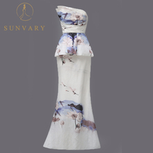 Sunvary Vintage Mermaid Celebrity Dresses Sleeveless Floor-Length Chinese Style Formal Gown Flower Print Silk Red Carpet Dresses(China)