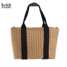 BRIGGS Brand Women Handbag Summer Casual Beach Bag High Quality Hand Woven Straw Bags Women Shoulder Bag Casual Tote For Girls(China)