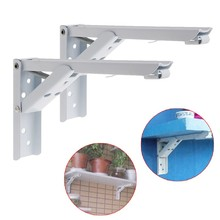 "2Pcs 8"" Folding Triangle Brackets Shelf  Counter Kitchen Wall Mounted + 8 Screws"