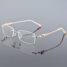XINZE Fashion Eyewear lady Glasses Frame Concise Design Rimless Eyeglasses Women Name Brand Glasses Spectacles Optical Goggles