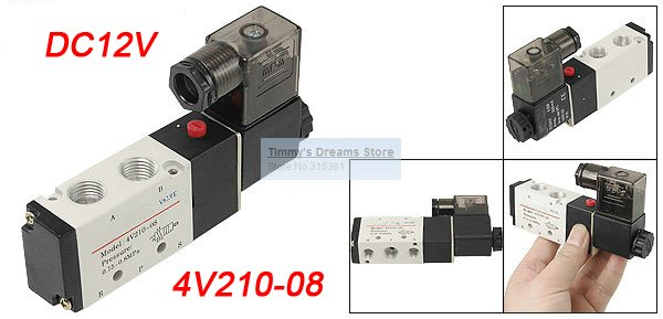 Free Shipping 2 Postion 5 way 4V210-08 Inner Guide Pneumatic Solenoid Valves 1/4 DC12V (factory)<br><br>Aliexpress