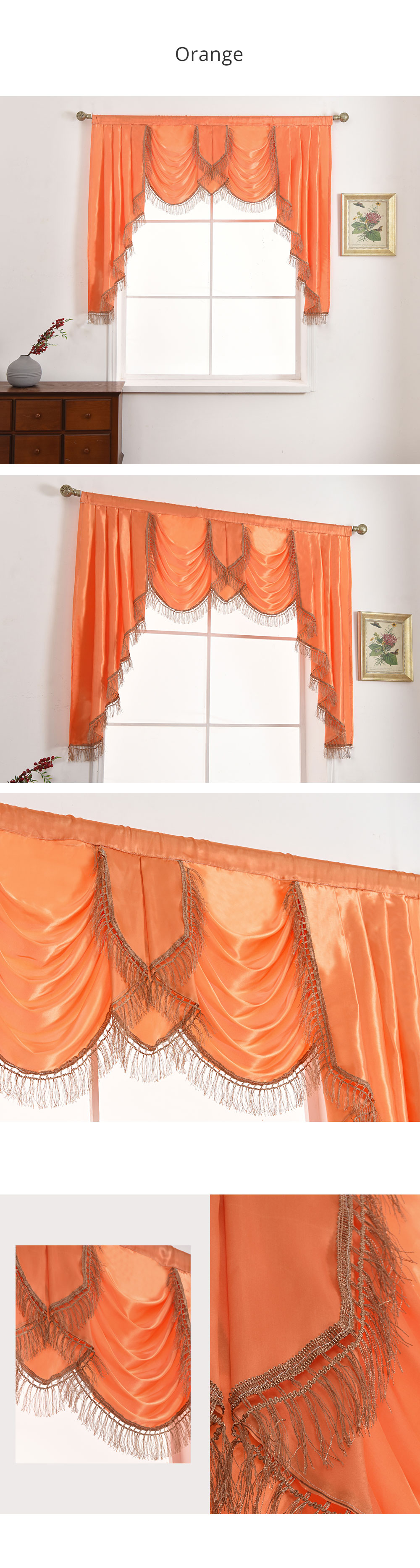 LOZUJOJU Solid Valance Flag Drops Sort Decor European Curtains for Bedroom Windows Luxury All Match Fabric Thread Tassel Elegant (2)