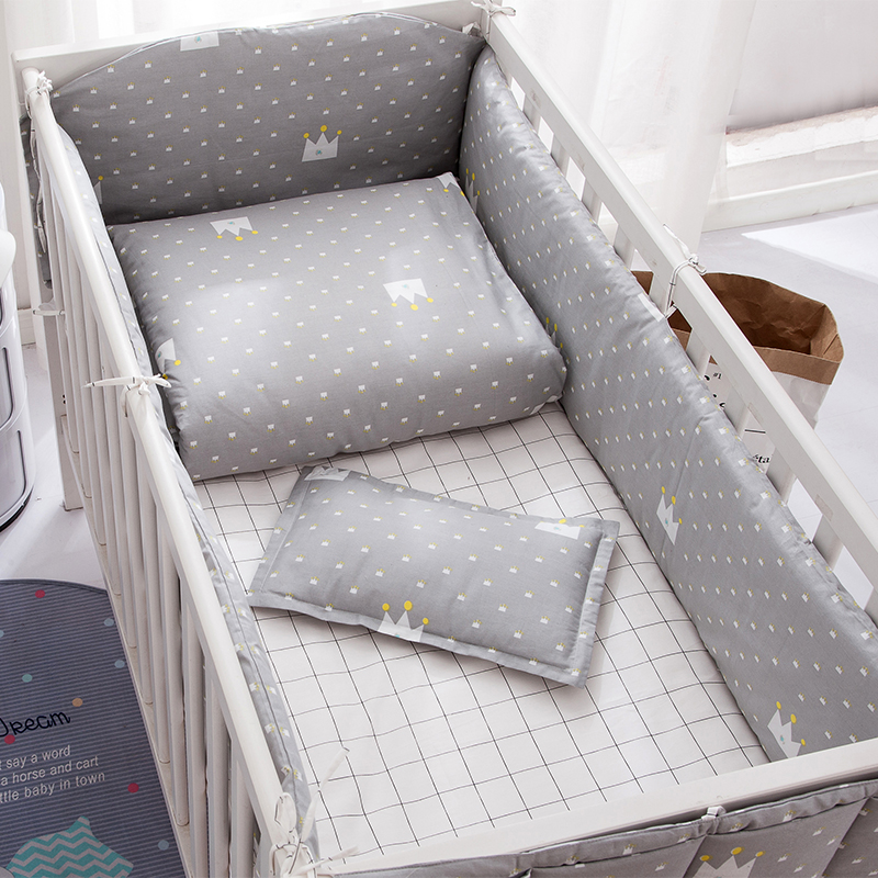 Grey Unisex Baby Crib bumpers  kit Cotton Baby Supplies Safety guard Crib Bumper Bedding Baby Duvet Cover Sheet<br>