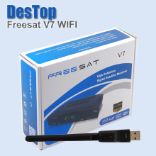 20pcs/lot [Genuine] Freesat V7 satellite recever DVB-S2 with Cccamd powervu youporn youtube freesat v7 set top hd box+wifi