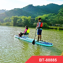 BT-88885 370 * 87 * 15 CM inflatable sup stand up paddle board inflatable surfboard Load bearing 210kg with paddle, hand pump,(China)