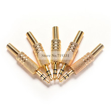 "5pcs 3.5mm 1/8"" Stereo Male Audio TRS Jack Plug Adapter Connector Plated Gold(China)"