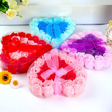 24Pcs Heart Scented Bath Body Petal Rose Flower Soap Wedding Decoration Gift F1115(China)