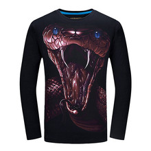 2017 Brand 3d T Shirt Men Funny t shirts Wolf Printed Long Sleeve Slim Fit O-Neck Casual Streetwear Top Quality tee shirt homme
